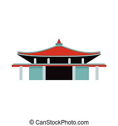 Pagoda icon in flat style