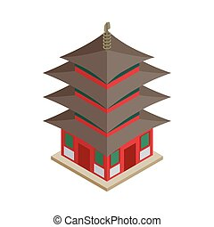 Pagoda icon, isometric 3d style