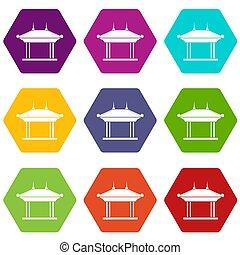 Pagoda icon set color hexahedron - Pagoda icon set many...