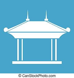 Pagoda icon white isolated on blue background vector...
