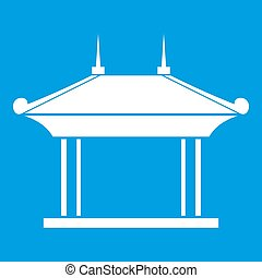 Pagoda icon white isolated on blue background  illustration