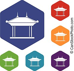 Pagoda icons set rhombus in different colors isolated on...