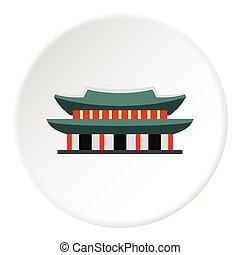 Pagoda in South Korea icon, flat style