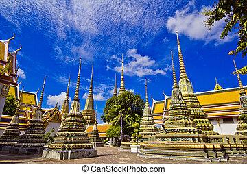 Pagoda in Wat pho in Bangkok Thailand