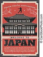 pagoda, japanner, oud, reizen, concept