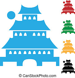pagoda, japonés, icono