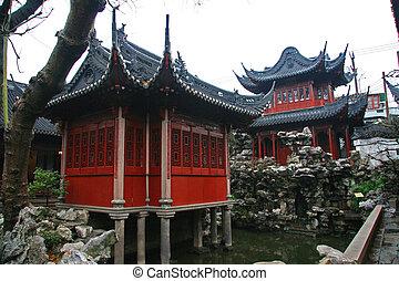 pagoda, jardín, chino