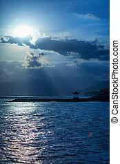 pagoda, luce, spiaggia, tropicale, pomeriggio, spiaggia