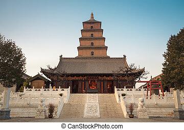pagoda, oca, gigante, selvatico, crepuscolo