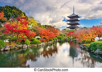 pagoda, otoño, toji