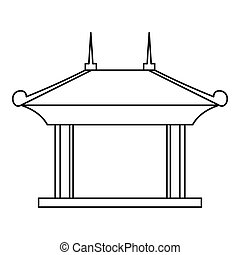 Pagoda pavilion icon, outline style - Pagoda pavilion icon....