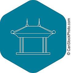 Pagoda pavilion icon, outline style