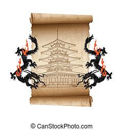 pagoda, rúbrica, viejo, pergamino, dragones