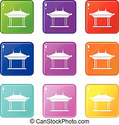 Pagoda set 9 - Pagoda icons of 9 color set isolated vector...