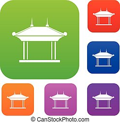 Pagoda set collection - Pagoda set icon in different colors...