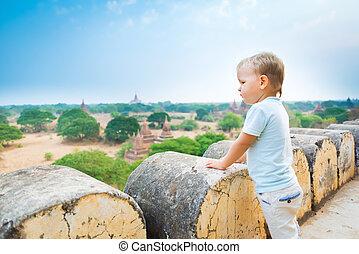 pagoda., shwesandaw, vue