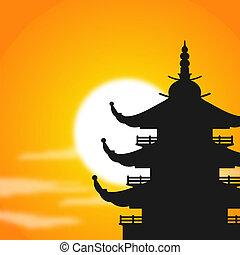 pagoda, silhouette, crepuscolo