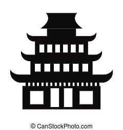 pagoda, simple, icono