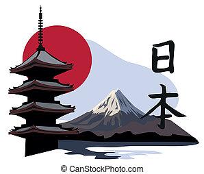 pagoda, templo, y, fuji