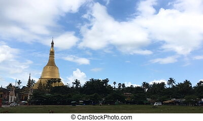 Pagoda, time lapse view of famous Buddhist landmark in...