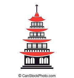 Clip art vettoriale di pagoda asiatico giapponese for Architettura giapponese tradizionale