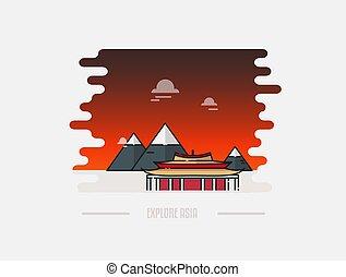 pagoda, y, montaña, en, el, plano de fondo, vector, ilustración