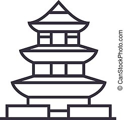pagoda,japan vector line icon, sign, illustration on background, editable strokes