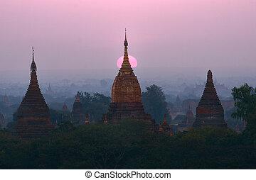 pagodas, bagan, myanmar