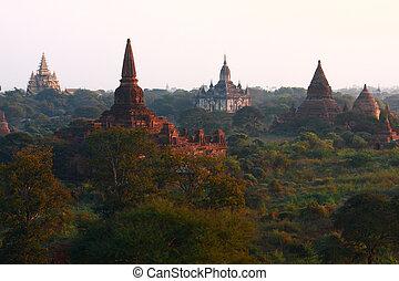 Pagodas , Bagan, Myanmar - Pagoda,Stupas and Payas at Bagan,...