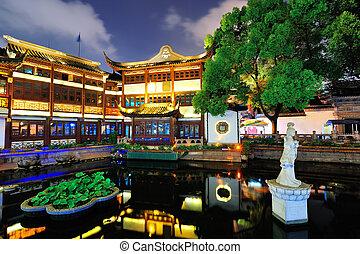 pagode, bâtiment, shanghai