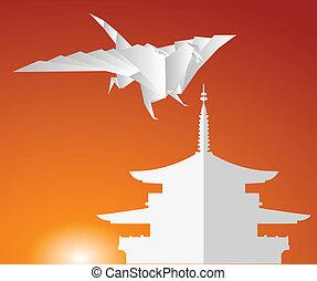 pagode, dragon., papier