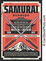 pagode, fuji, life., manière, katana, samouraï, bushido