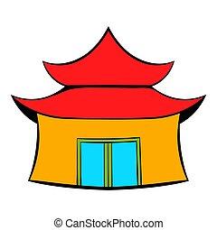 pagode, icône, dessin animé