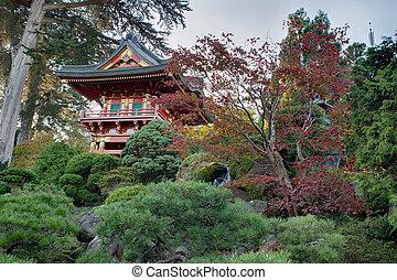 pagode, japonês jardim