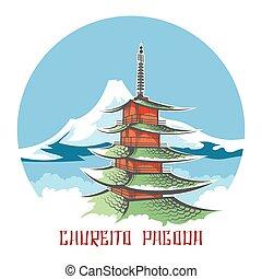 pagode, japon, emblème, chureito, paysage