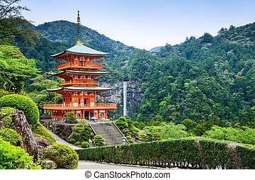 pagode, japon, nachi, chute eau