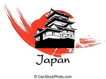 pagode, japon, vecteur
