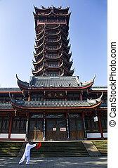 pagode, jiutian, chengdu, chi, sichuan, porcelaine, devant,...