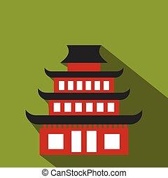 pagode, plat, icône