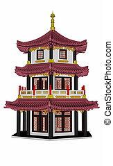 pagode, -, render, 3d