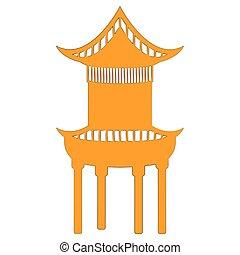 pagode, silhouette, jaune, chinois