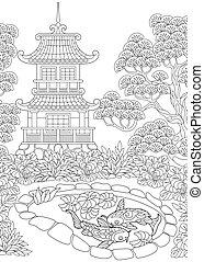 pagode, tour, japonaise, chinois, ou
