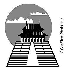 pagode, vecteur, -