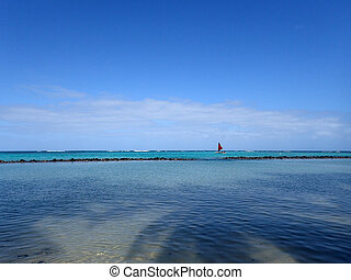 Pahonu Pond (Ancient Hawaiian Fishpond) with Sail boat in the di