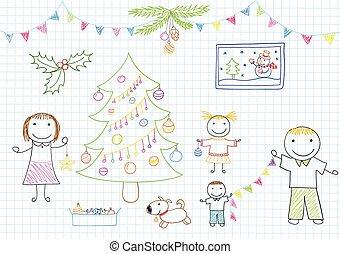 pai, árvore natal, decora, dois, mãe, crianças