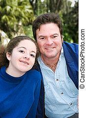 pai, ao ar livre, filha, retrato