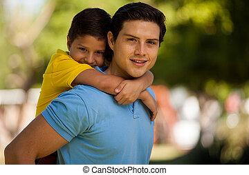 pai, bonito, seu, jovem, filho