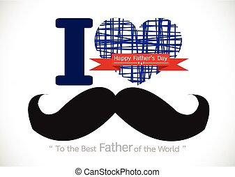 pai, cartão, dia, bigode