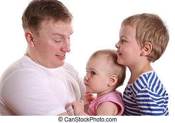 pai, com, duas crianças