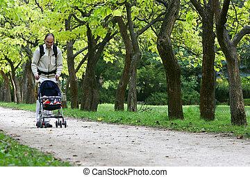 pai, com, filho, parque